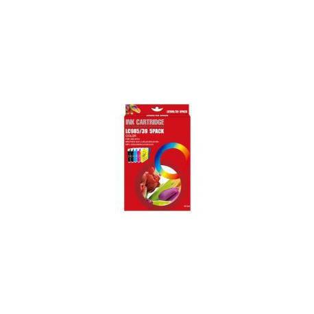 Pack de 5 Cartucho  De Tinta Compatible BROTHER LC-985 4 colores LC985BK, LC985C, LC985Y y LC985M
