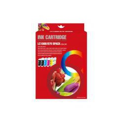 Pack de 5 Cartucho  De Tinta Compatible BROTHER LC-970 4 colores LC970BK, LC970M, LC970C y LC970Y