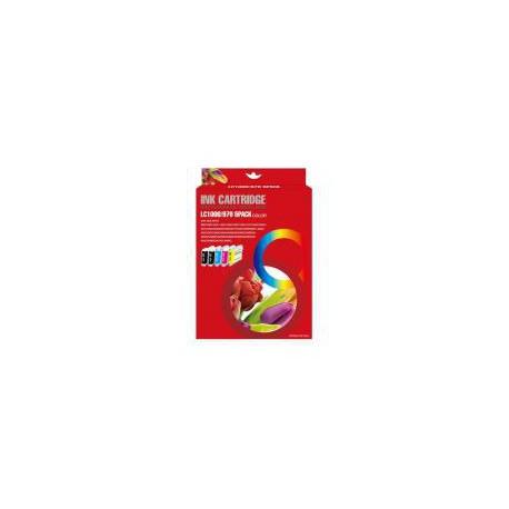Pack de 5 Cartucho  De Tinta Compatible BROTHER LC-970 4 colores LC970BK, LC970M, LC970C y LC970Y