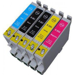 Pack de 5 Cartucho  De Tinta Compatible EPSON T0555 4 colores C13T05514010, C13T05544010, C13T05534010 y  C13T05524010