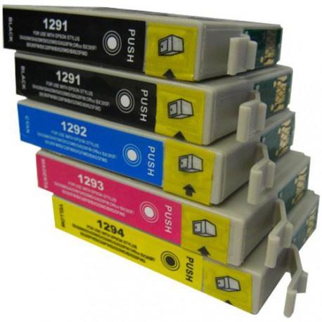 pack de 5 cartucho de tinta compatible epson t1295 4 colores c13t1291. Black Bedroom Furniture Sets. Home Design Ideas