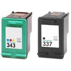 Pack de 2 Cartucho  De Tinta Compatible HP 337 + 343 4 colores C9364EE y 8766EE