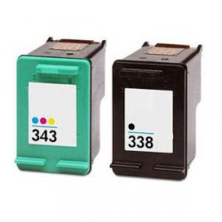 Pack de 2 Cartucho  De Tinta Compatible HP 338 + 343 4 colores C8765EE y C8766EE