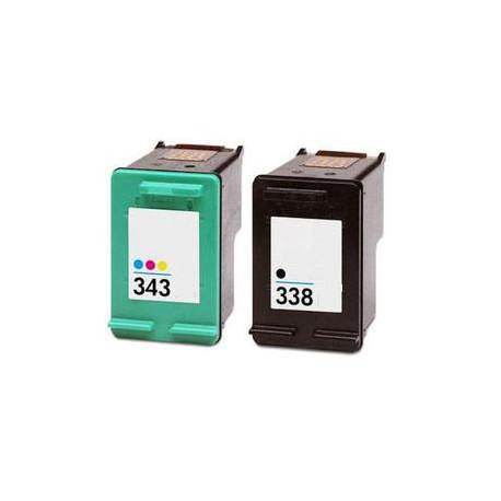 Pack de 2 Cartucho  De Tinta Compatible HP 338 + 343 4 colores C8765EE y C8766EE