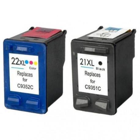 Pack de 2 Cartucho  De Tinta Compatible HP 21XL + 22XL 4 colores C9352CE y C9351CE