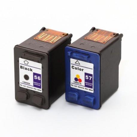Pack de 2 Cartucho  De Tinta Compatible HP 56 + 57 4 colores C6656AE y C6657AE