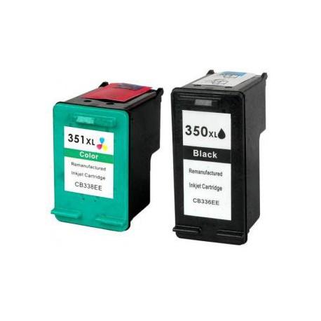 Pack de 2 Cartucho  De Tinta Compatible HP 350XL + 351XL 4 colores CB336EE y CB338EE