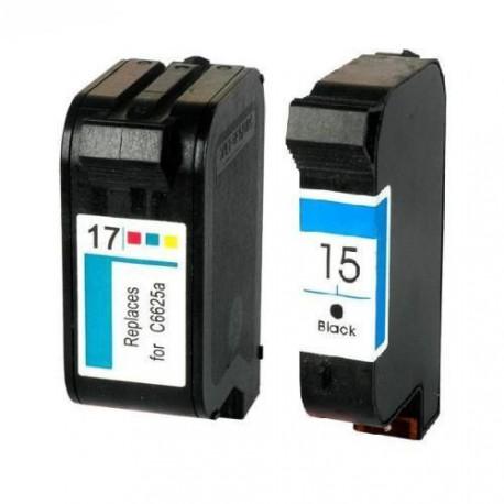 Pack de 2 Cartucho  De Tinta Compatible HP 15 + 17 4 colores C6615DE y C6625A
