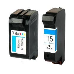 Pack de 2 Cartucho  De Tinta Compatible HP 15 + 78 4 colores C6578Ay C6615DE