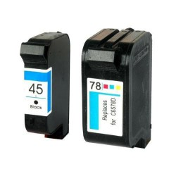Pack de 2 Cartucho  De Tinta Compatible HP 45 + 78 4 colores 51645AE y C6578A