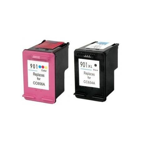 Pack de 2 Cartucho  De Tinta Compatible HP 901XL 4 colores CC654AE y CC656AE