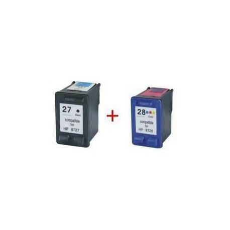 Pack de 2 Cartucho  De Tinta Compatible HP 27 + 28 4 colores C8728AE y C8727AE
