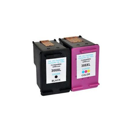 Pack de 2 Cartucho  De Tinta Compatible HP 300XL 4 colores C641EE y  CC644EE