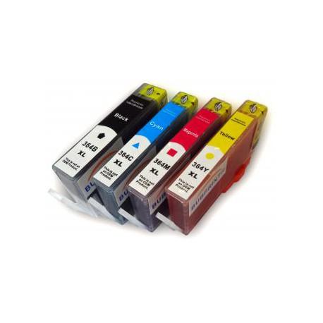 Pack de 5 Cartucho  De Tinta Compatible HP 364XL 4 colores CN684EE, CB325EE, CB324EE y CB338EE