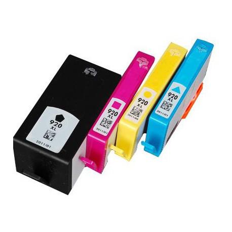 Pack de 5 Cartucho  De Tinta Compatible HP 920XL 4 colores CD975AE, CD973AE, CD972AE y CD974AE