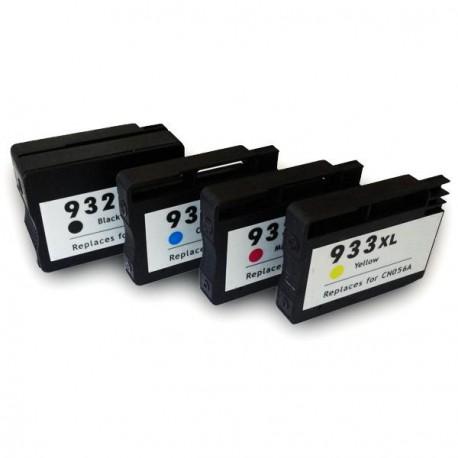 Pack de 5 Cartucho  De Tinta Compatible HP 932XL + 933XL 4 colores CN053AE, CN054AE, CN056AE y N055AE