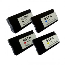 Pack de 5 Cartucho  De Tinta Compatible HP 950XL + 951XL 4 colores CN045AE, CN048AE, CN046AEy CN047AE