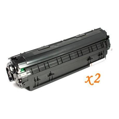 Pack de 2 Toner Compatible HP 36A negro CB436A