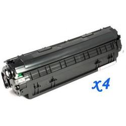 Pack de 4 Toner Compatible HP 36A negro CB436A