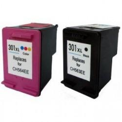 Pack de 2 Cartucho  De Tinta Compatible HP 302XL 4 colores F6U68AE y F6U67AE