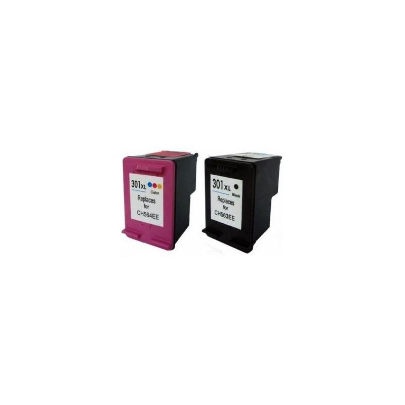 Pack de 2 Cartucho De Tinta Compatible HP 302XL 4 colores ...